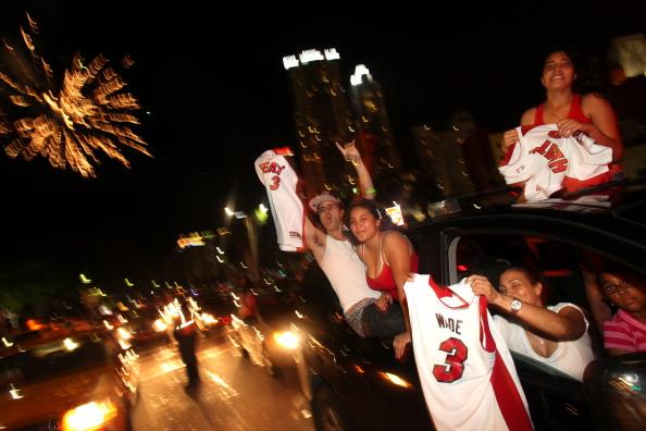 Miami Heat Fans Gather To Watch NBA Finals