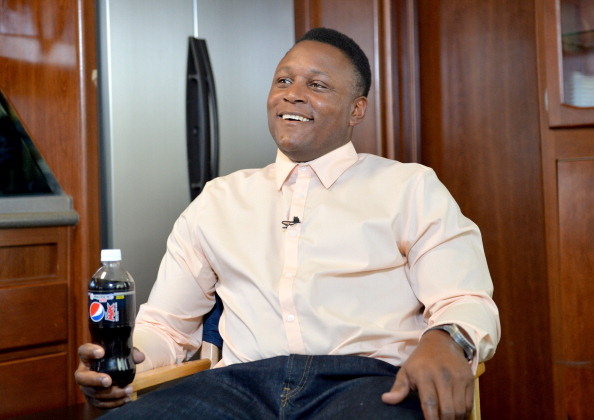 """Pro Football Hall Of Famer Barry Sanders On Set During A Pepsi MAX Commercial For """"Disappearing Sanders"""""""