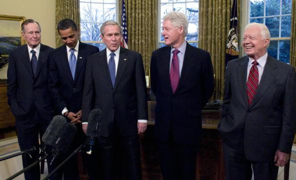 Five U.S. Presidents Meet in Oval Office